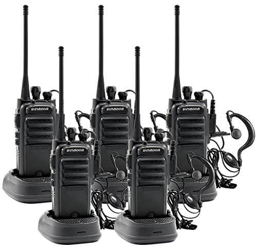Winmoom Reachargeble Walkie Talkies 5 Pack Long Range Two Way Radios with Earpiece FRS/GMRS UHF Handheld Interphone for Adults or Kids Biking Hiking Camping Li-ion Battery and Charger Included
